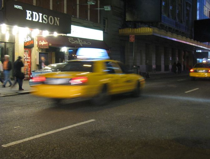 taxi in motion