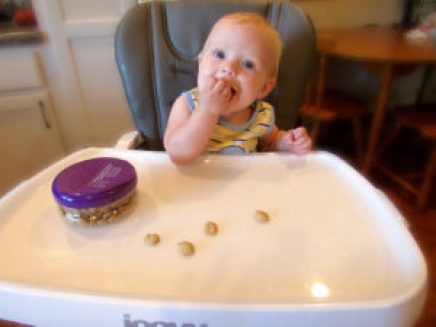 baby eating baby biscuits puffs in high chair