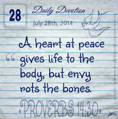 • Daily Devotion • July 28th • A heart at peace gives life to the body, but envy rots the bones • Proverbs 14:30 •