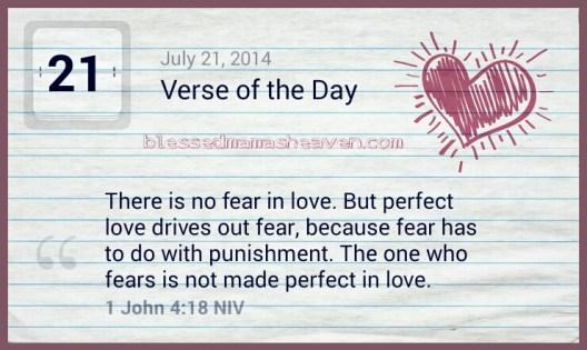 DAILY DEVOTION ~July 21st, 2014~ John 4:18
