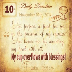Daily Devotion • November 10th • Psalms 23:5 ~You prepare a feast for me in the presence of my enemies. You honor me by anointing my head with oil. My cup overflows with blessings.