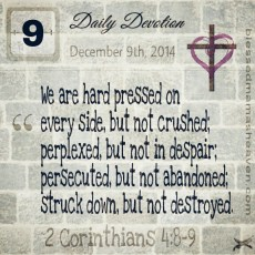 Daily Devotion • December 9th • 2 Corinthians 4:8-9 ~We are hard pressed on every side, but not crushed; perplexed, but not in despair; persecuted, but not abandoned; struck down, but not destroyed.