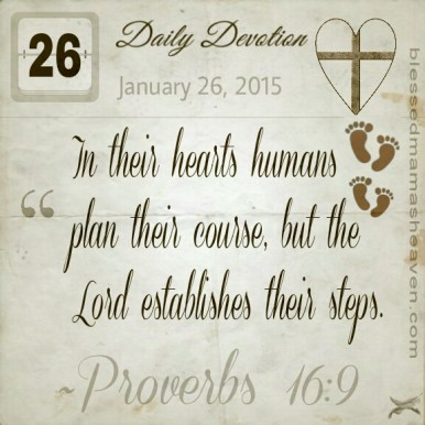 Daily Devotion • January 26th • Proverbs 16:9 ~In their hearts humans plan their course, but the Lord establishes their steps.