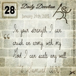 Daily Devotion • January 28th • 2 Samuel 22:30 ~In your strength I can crush an army; with my God I can scale any wall.