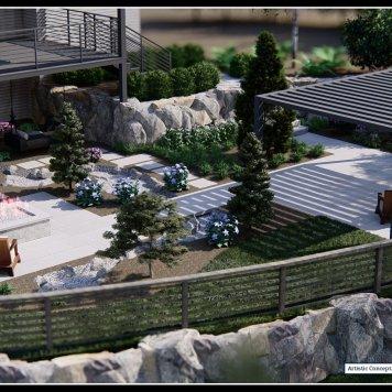 Modern Driveway and Back Yard (3D)
