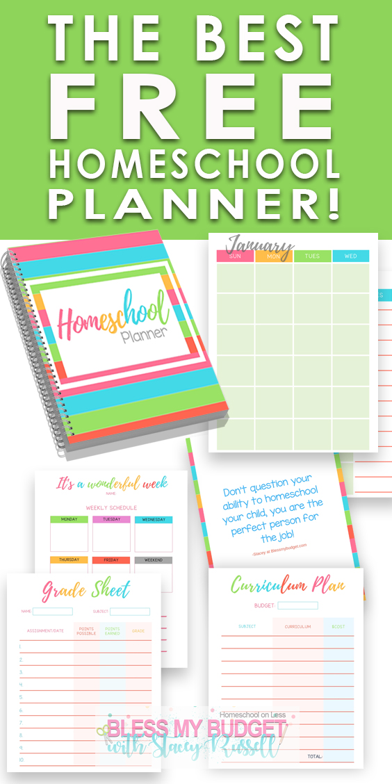graphic about Printable Homeschool Planners named Least difficult Homeschool Planner - Free of charge PRINTABLE Bless my Funds