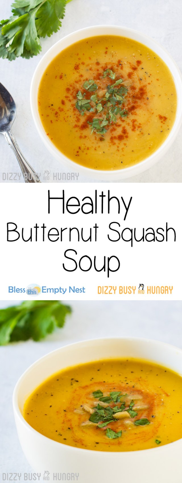 Healthy Butternut Squash Soup | BlessThisEmptyNest.com - Silky, fragrant, and flavorful, this comforting soup is a perfect dish for a cozy dinner with your honey!!