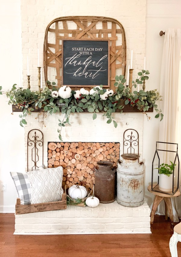 Farmhouse Style Fall Mantel and DIY Garland