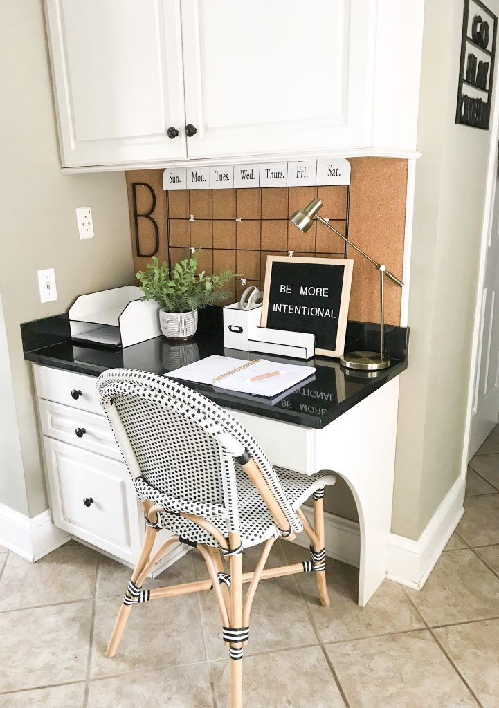 view of desk space in kitchen