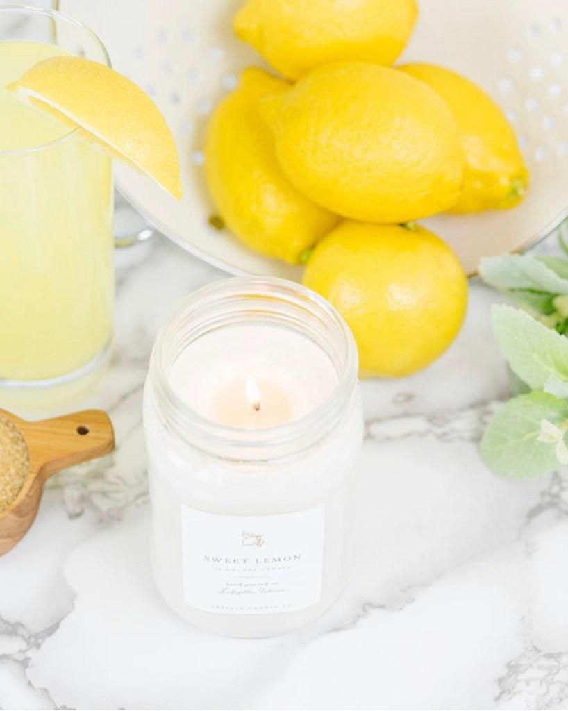 sweet lemon candle burning
