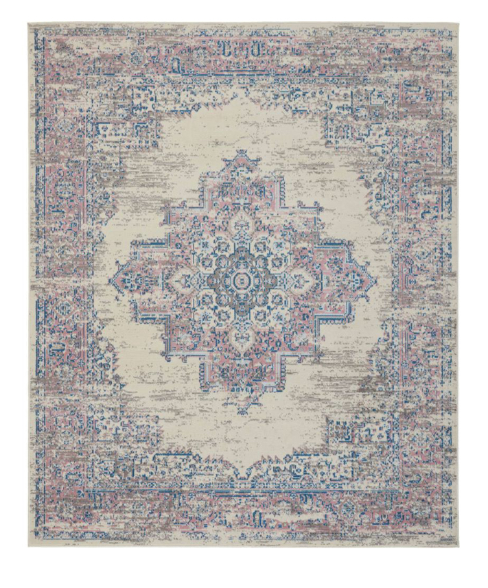 white and pink persian rug