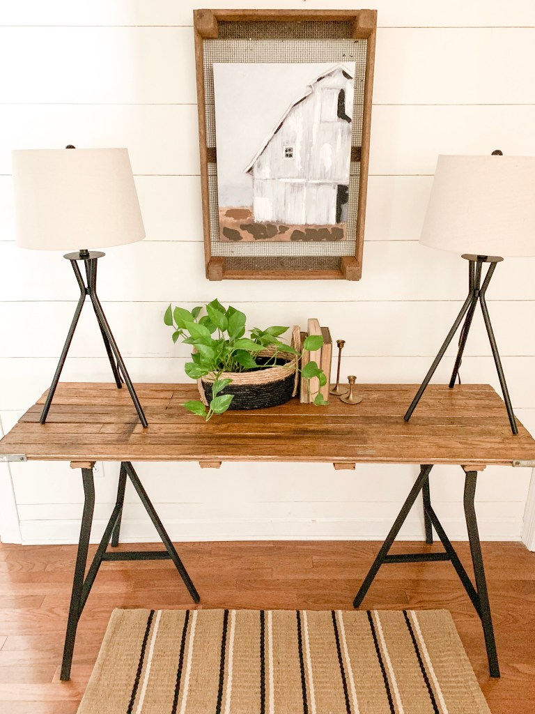 rustic and modern console table