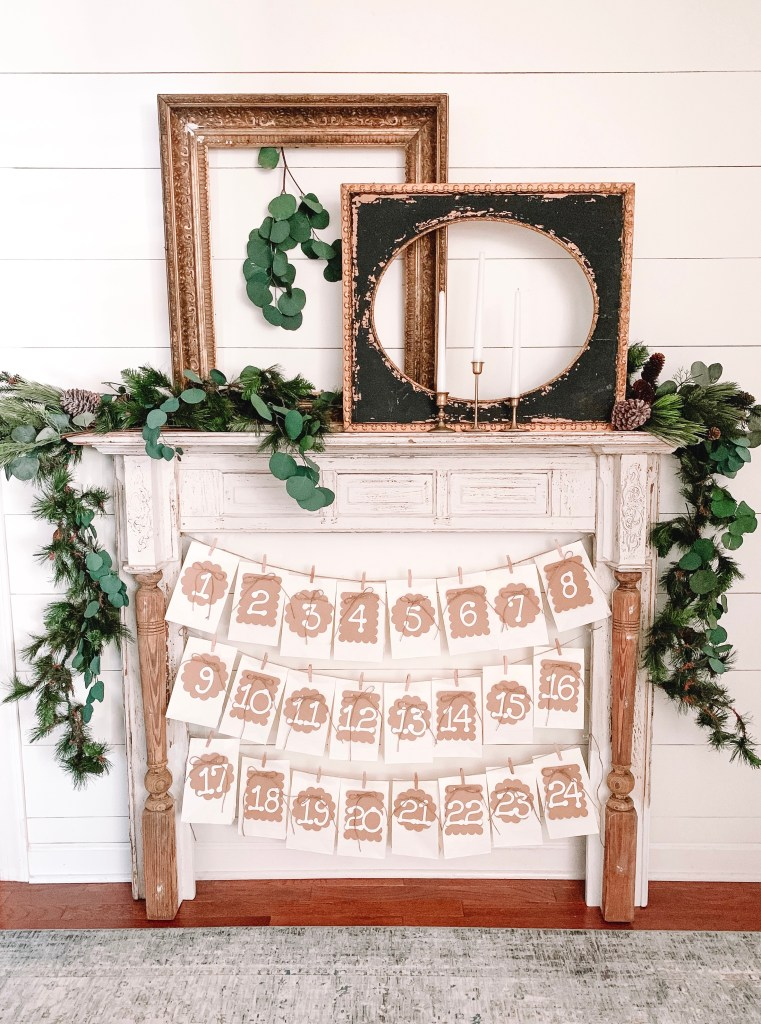 mantel with advent calendar bags