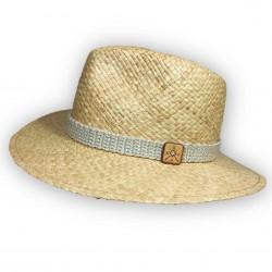 Chapeau de paille le Spirito Crème - GDGM Chapeau 100 % Paille Logo cuir contour crocheté main coton/cashmere
