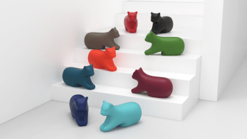 Chat design emotionnel et lifestyle en polyéthylène moulé recyclable