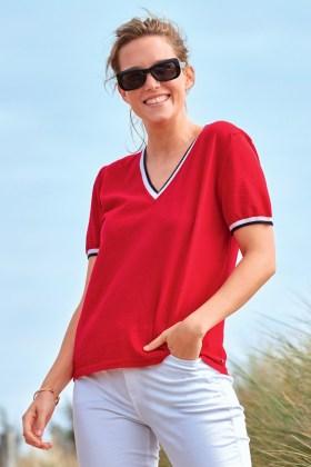 Pull femme manches courtes 100% laine mérinos. Col V et finitions tricolores