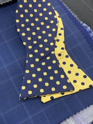 Polka Dot Reversible Navy Gold Self Bow Tie