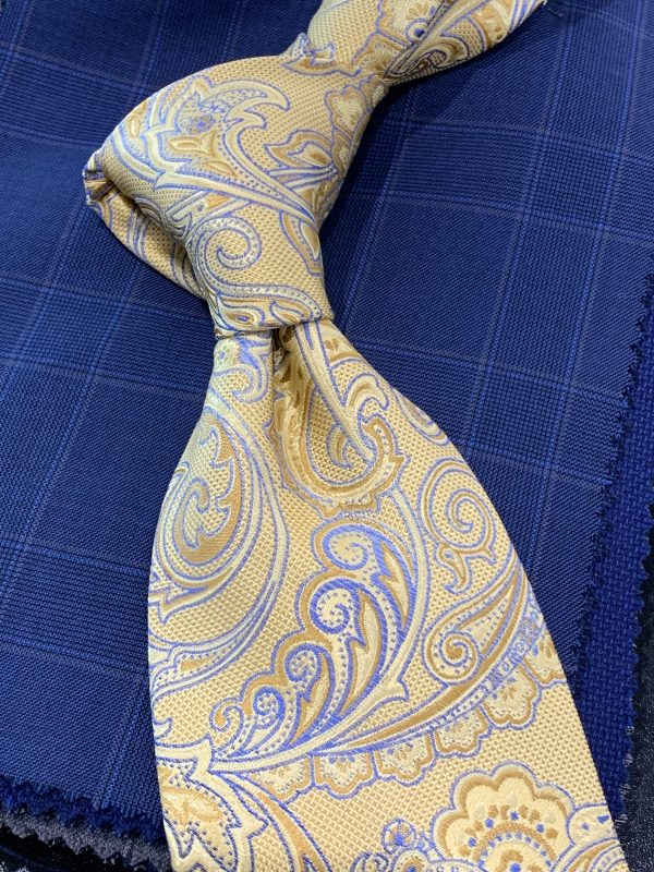 Silk Yellow Neck Tie Paisley Pattern