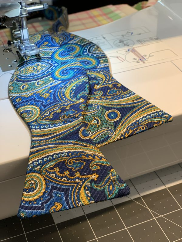 Blue Green Yellow Paisley Self Bow Tie