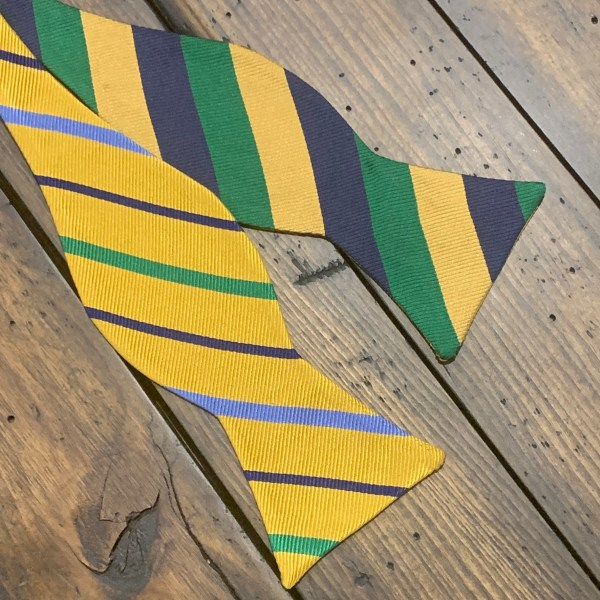 Reversible Silk Striped Self Bow Tie