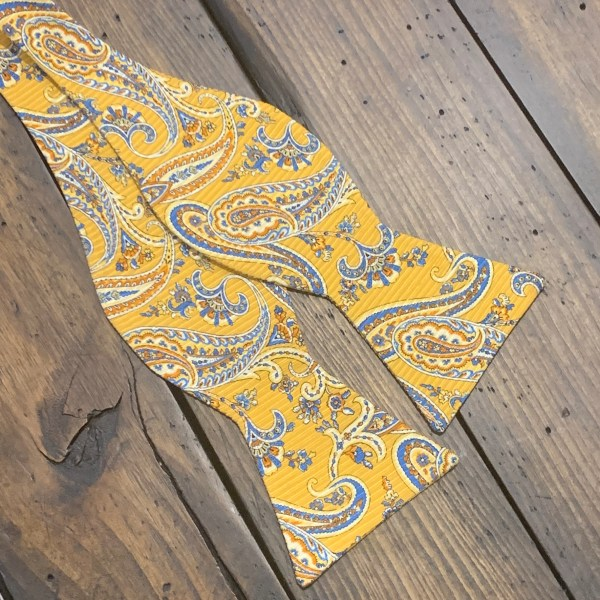 Paisley Gold and Blue Silk Self Bow Tie