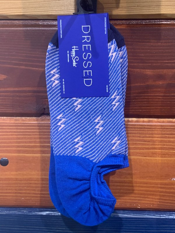 No show bright blue lightning bolt happy dress socks size 8-12