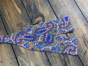 """Limited Edition 1 of 1 100% Silk Self Bow Tie Adjustable Neck Size 14.5"""" - 20"""" Straight Edge Design"""