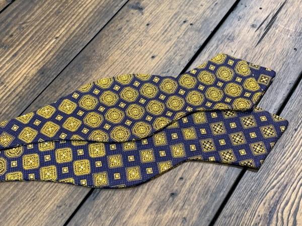 "100% Silk Self Bow Tie Adjustable Neck Size 14.5"" - 20"" Diamond Point Design"