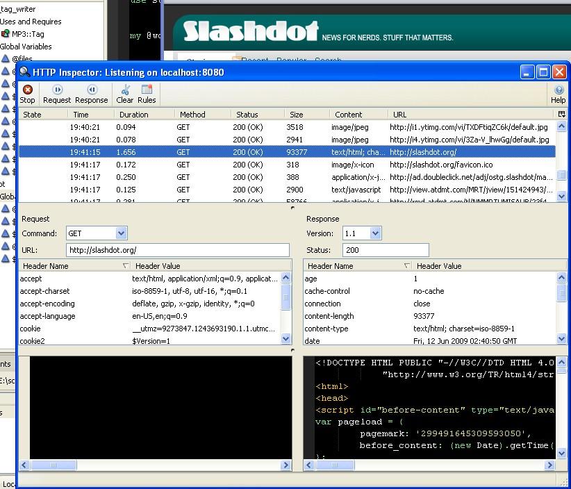 Checking out Slashdot with HTTP Inspector