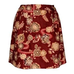 Jupe corolle bordeaux et marron Ancient Kimono