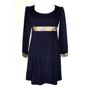 Robe Empire Soaring en velours bleu nuit