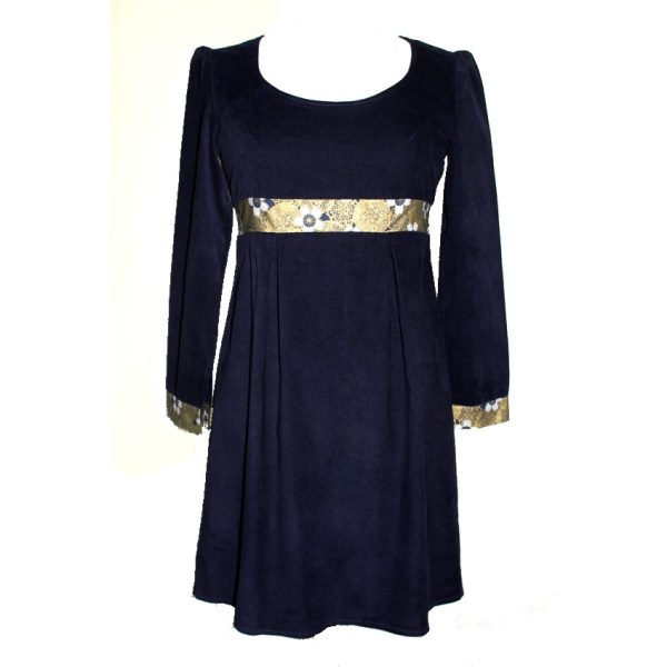 Robe Empire Soaring en velours bleu nuit