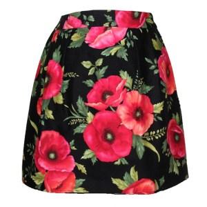 Jupe Corolle noire à coquelicots rouges Poppies