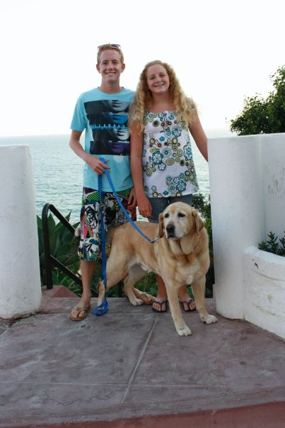 My kids with Angus at the beach.