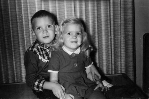 black and white photo from 1960s of siblings