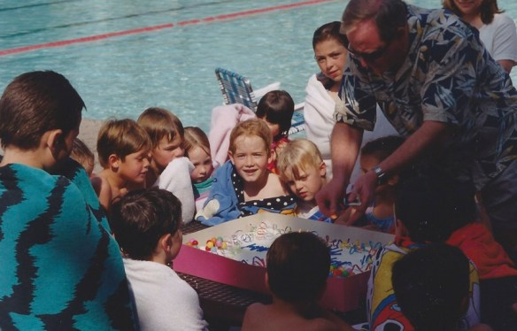 child's birthday part at a swimming pool