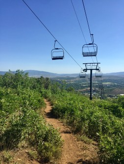 hiking under chair lifts.