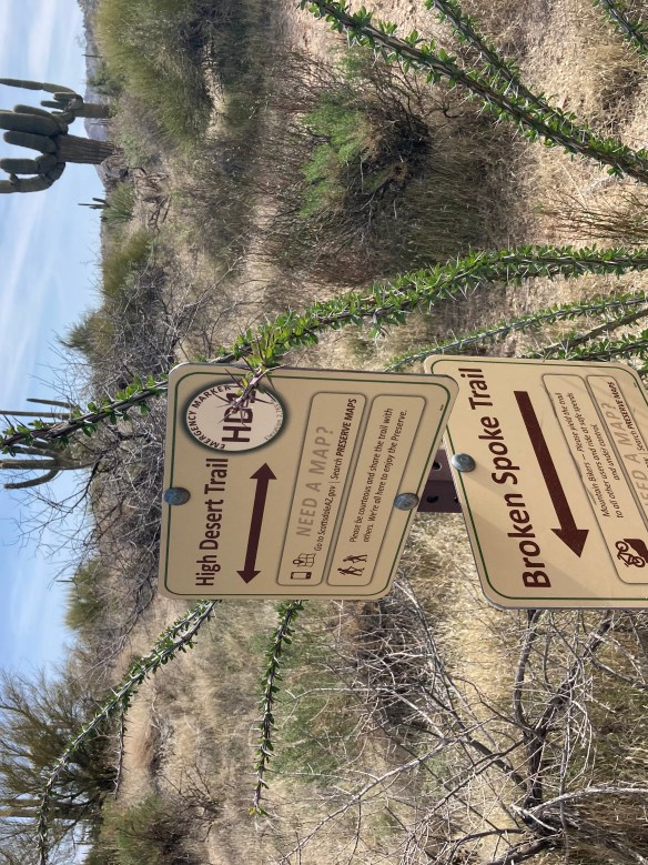 Trail signs on the McDowell Sonaran preserve