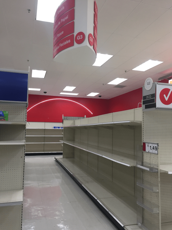 empty shelves at Target March 2020