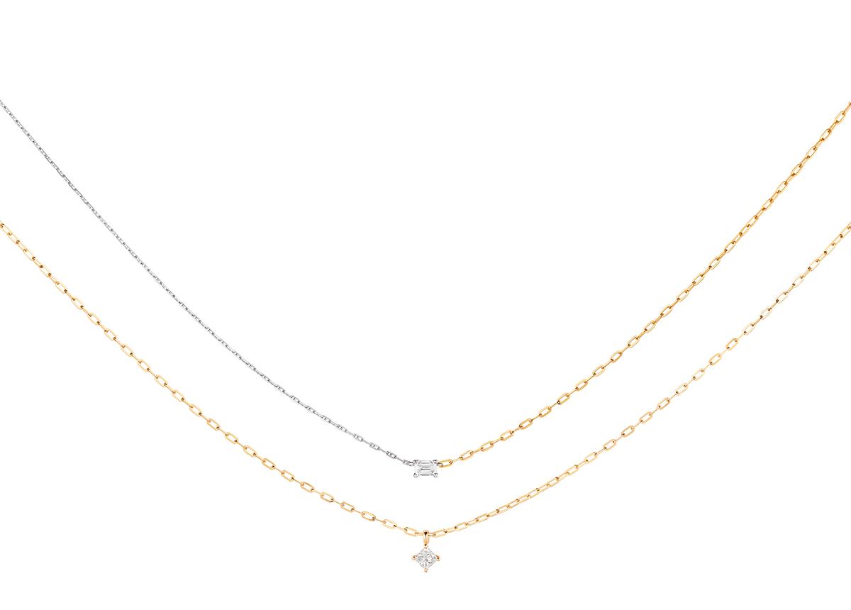 Anhänger Reflected by Wempe x Guya: 18k Gelb-/Weißgold,1 Diamant im Emerald-Cut 0,2 ct (ab 1.345 Euro VK); 18k Gelbgold, 1 Diamant im Princess-Cut 0,2 ct (ab 1.225 Euro VK)