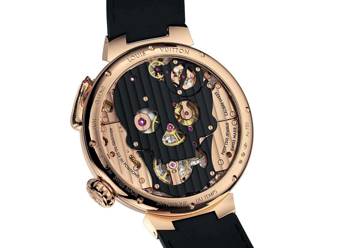 Das Uhrwerk der Tambour Carpe Diem ist wie ein Totenkopf gestaltet.