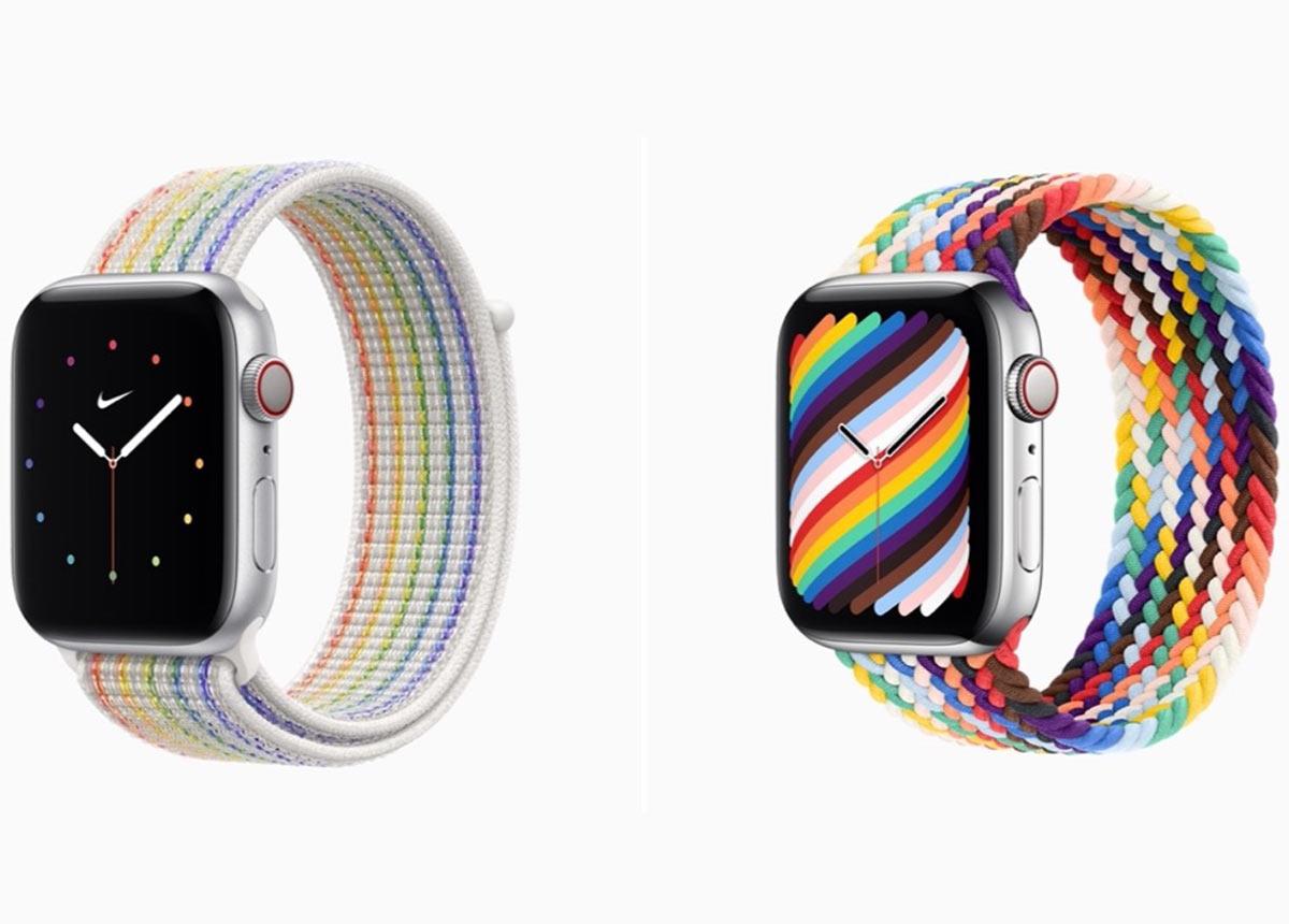 So sehen die beiden neuen Pride-Bänder der Apple Watch aus.