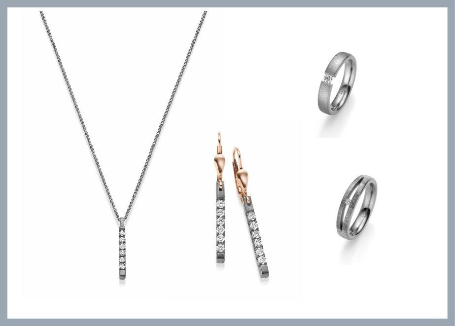 Diamant-Anhänger, Diamant-Ohrringe, Verlobungsring/ Trauring aus Tantal
