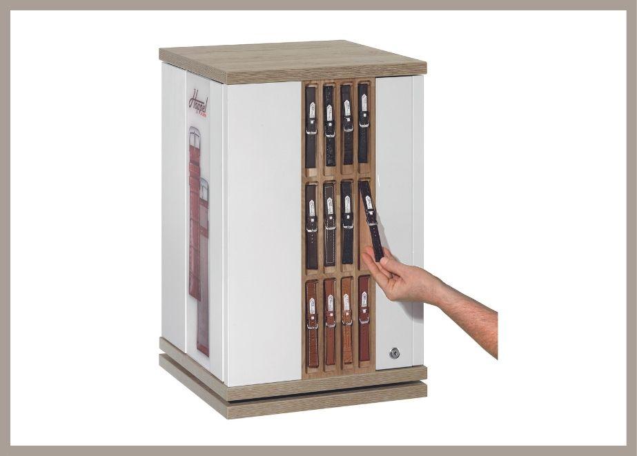 Bänder zum Anfassen, die doch diebstahlgeschützt sind: Die Happel-Möbel können mit allen Flume- Bändern, also auch Di-Modell, bestückt werden.