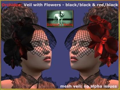 Bliensen - Orchidea - veil - blackblack & redblack