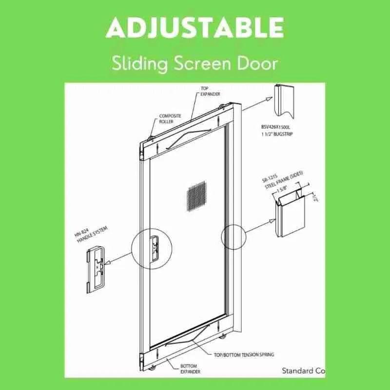 https blindandscreen com product adjustable sliding screen door white 36 x 78 80