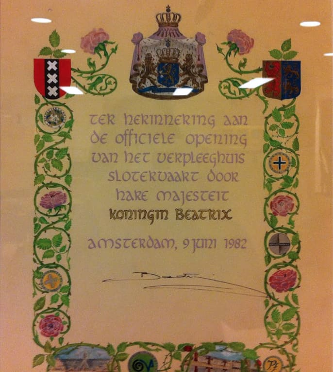 Document bij de opening van verpleeghuis Slotervaart