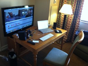 Aug 4, 2013 - Ben Churchill's editing set up in the hotel