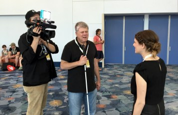 June 24, 2016 - Tommy Edison & Ben Churchill film Anna Rothchild (Gross Science) at VidCon 2016