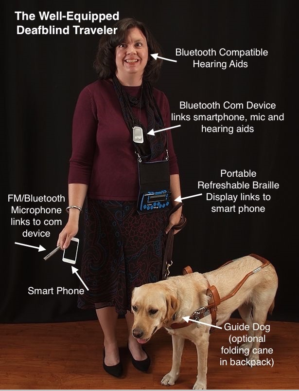 Annotated photo of Lisa and her guide dog.